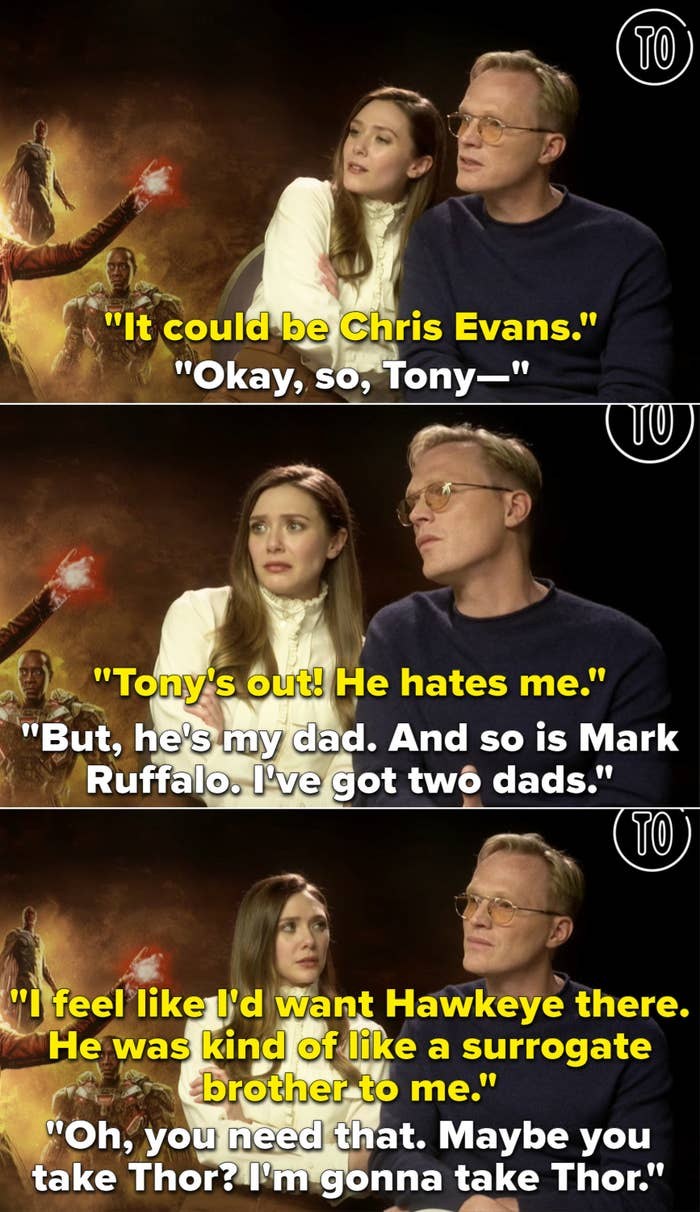 """Lizzie saying """"Tony's out! He hates me."""" And Paul responding, """"But, he's my dad. And so is Mark Ruffalo. I've got two dads"""""""