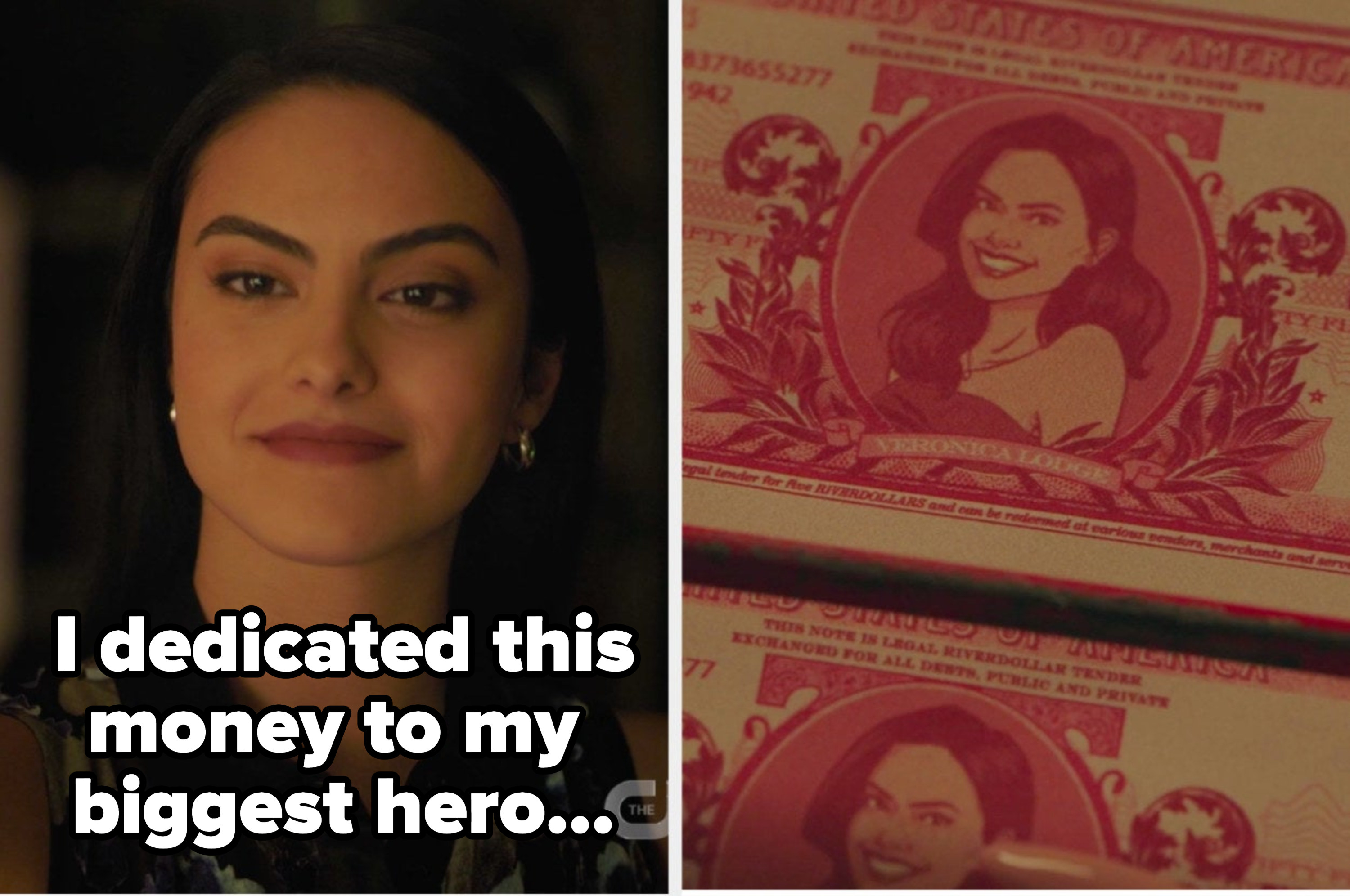 """Veronica side by side with her riverdollars saying """"I dedicated this money to my biggest hero"""""""