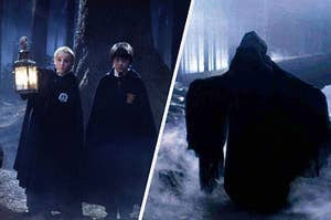 An evil entity beside Harry and Draco walking through the Forbidden Forest