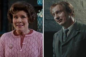 Umbridge on the left and lupin on the right
