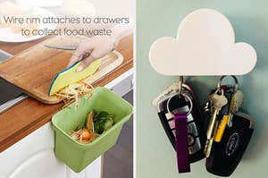 left image: food scraps bin for counter, right image: cloud key holder