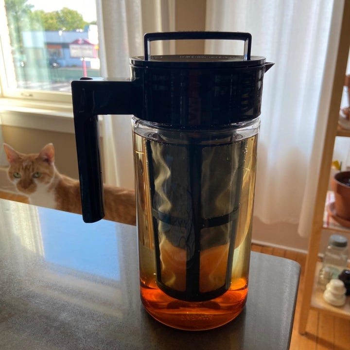 A reviewer photo of a clear pitcher filled with ice coffee with a cat in the background