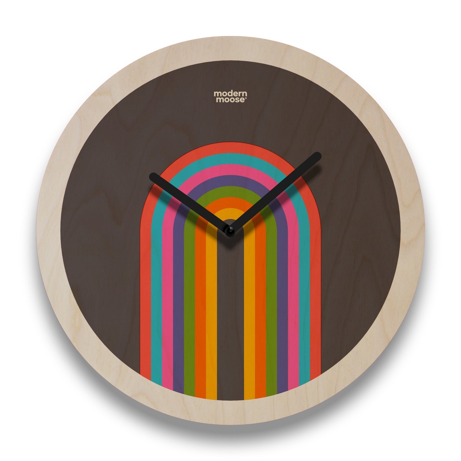 round wall clock with a rainbow on the clock face