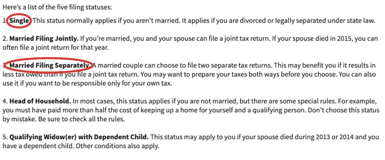 Screenshot of the five tax filing statuses