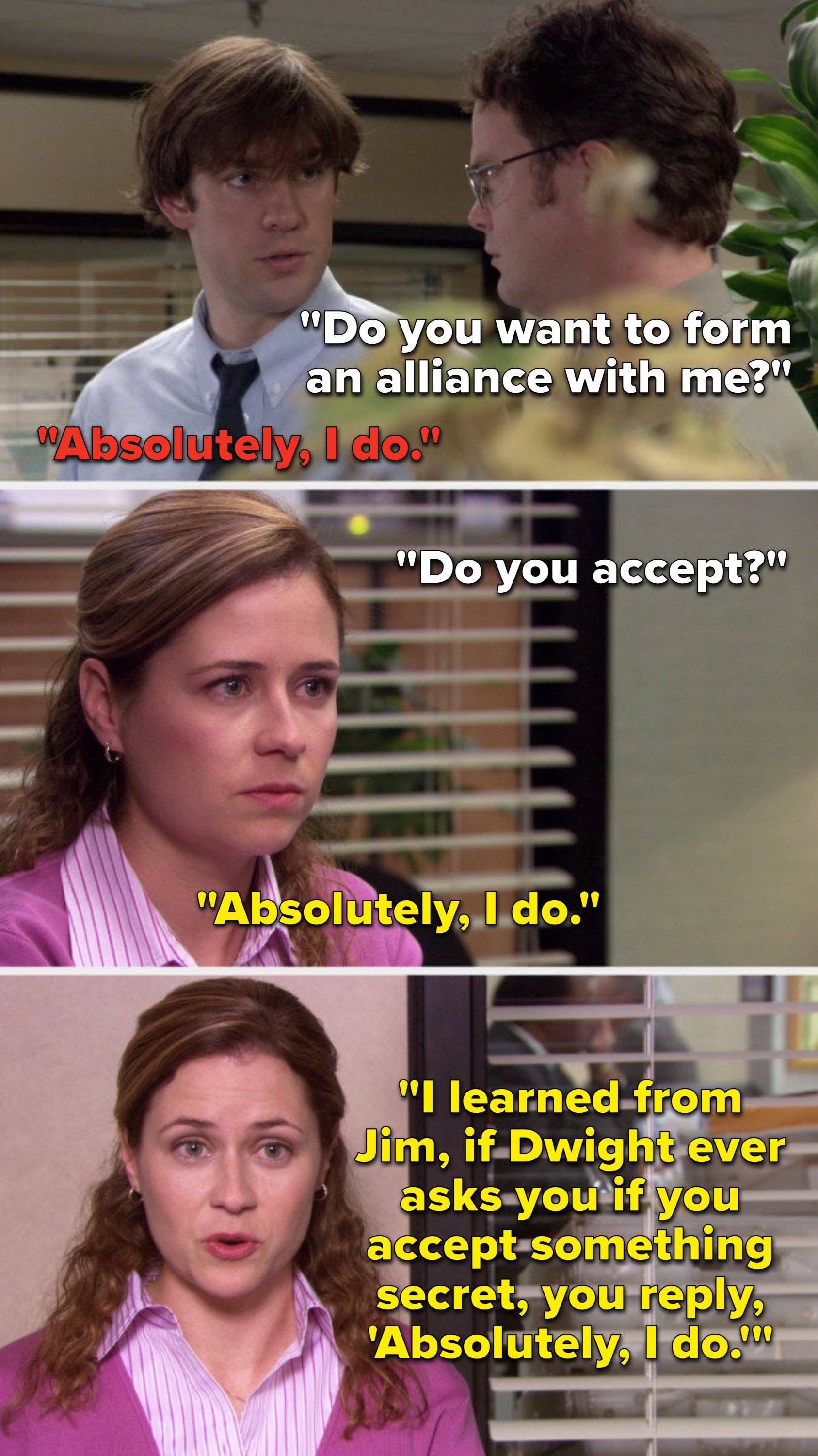 """Dwight says, """"Do you want to form an alliance with me,"""" Jim says, """"Absolutely I do,"""" seasons later Dwight Pam says, """"I learned from Jim, if Dwight ever asks you if you accept something secret, you reply, 'Absolutely I do'"""""""