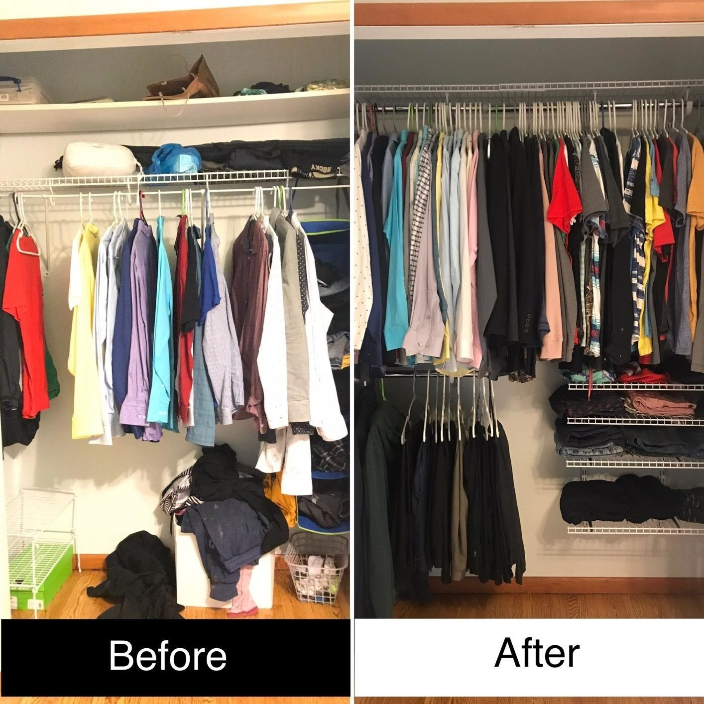 A before and after image showing the closet system, which includes racks and two closet rods, used to make a reviewer's closet more organized