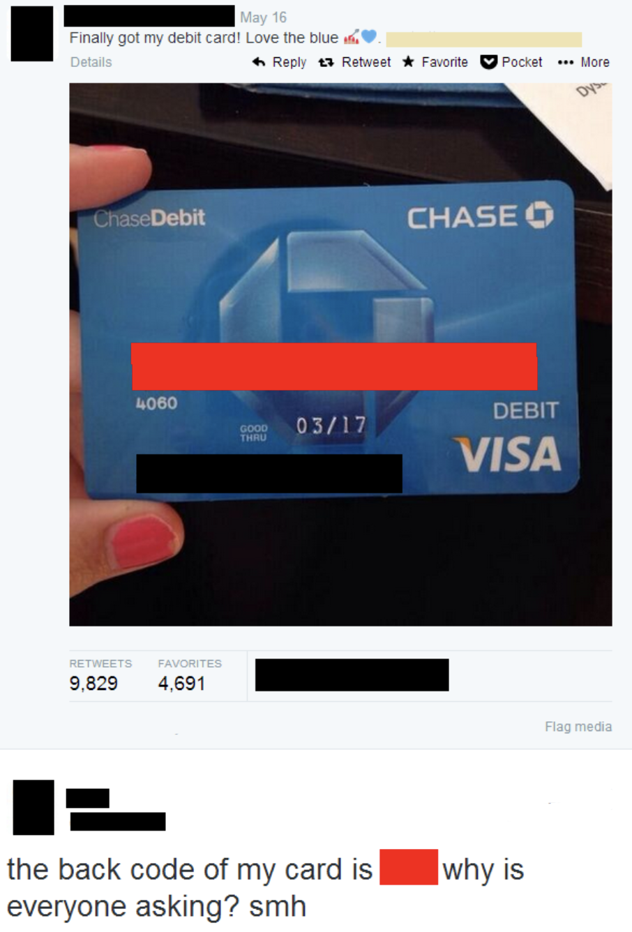 someone giving away their credit card number on twitter