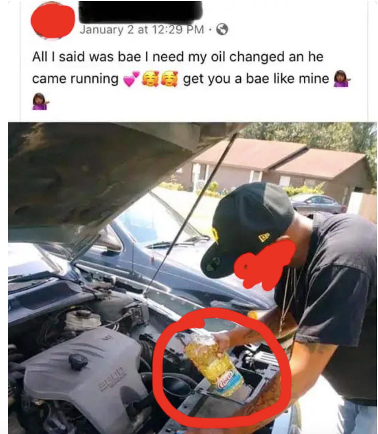guy putting vegetable oil into his engine