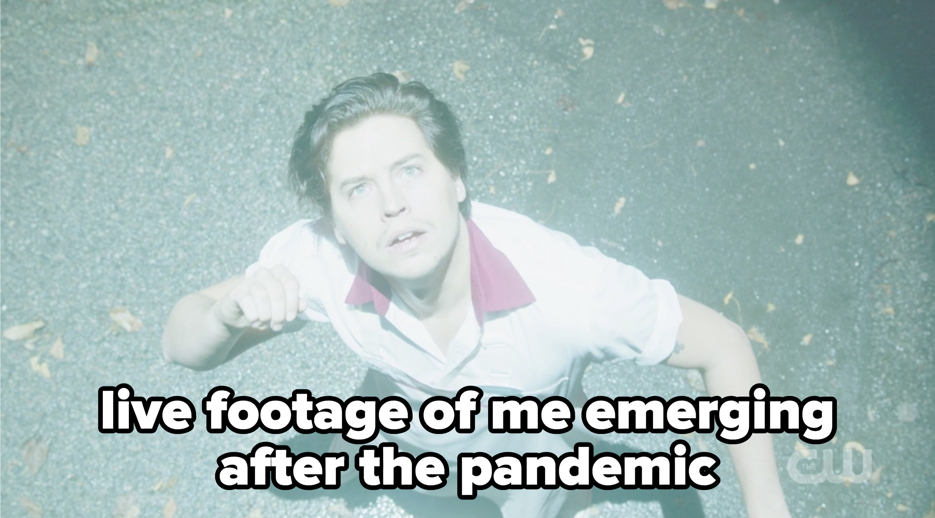 """Jughead with the caption """"live footage of me emerging after the pandemic"""""""