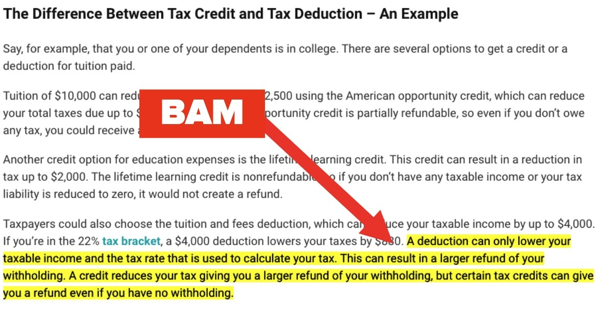Screenshot of tax credit and tax deduction explaination
