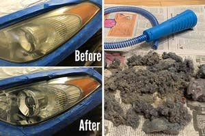 A before and after of cloudy and clear car headlights, and a machine wash vacuum attachment sitting next to a large pile of dust