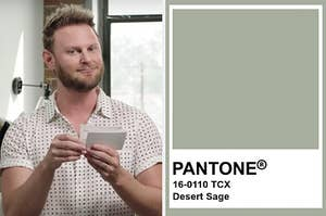 bobby berk from queer eye on the left and the pantone sage green color on the right
