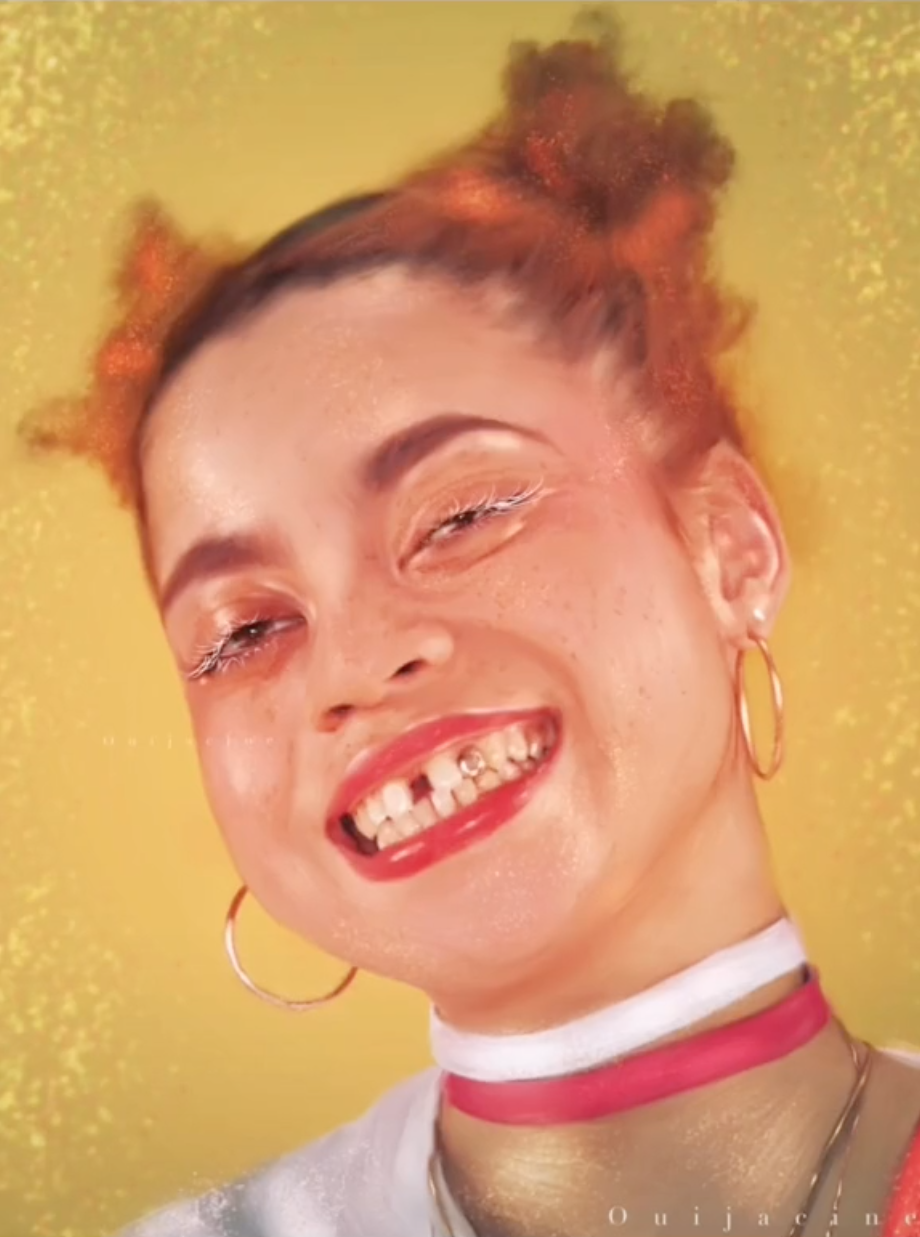 A portrait with someone who is smiling brightly, with a gap in their teeth