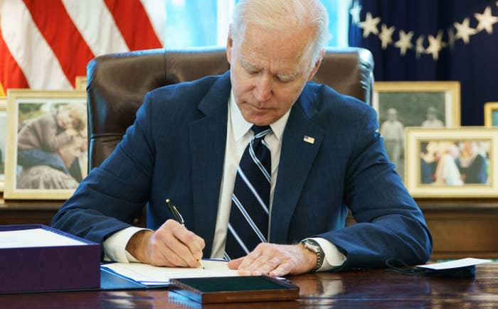 Biden signing the American Rescue Plan Act