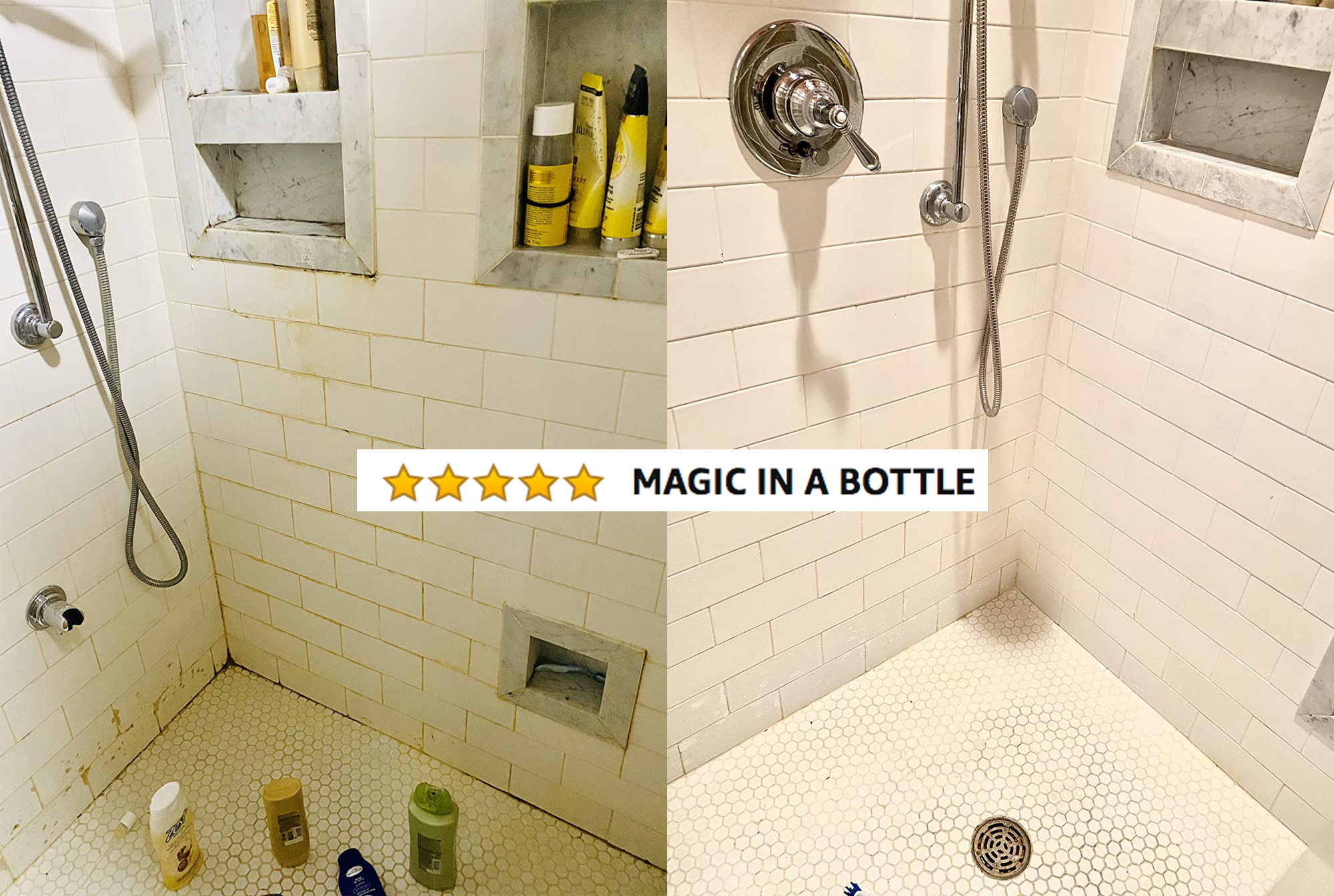 """A reviewer's before/after of their shower showing black gunk and mold that's now gone, with five stars and text """"magic in a bottle"""""""