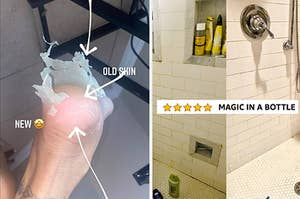 A peeling food / a before/after of a shower with five stars and text magic in a bottle