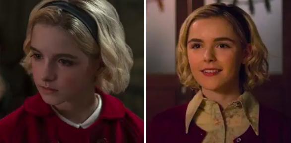 Sabrina as a child alongside teen Sabrina