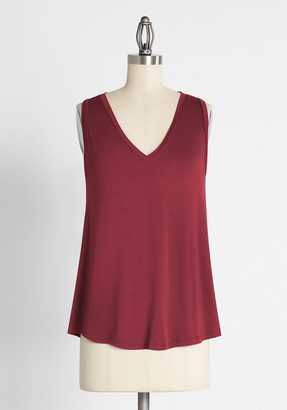 the burgundy tank top on a mannequin