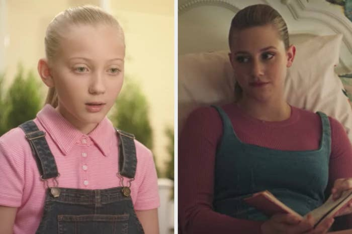 Young Betty in denim overalls with pink shirt and older Betty in denim dress over pink shirt
