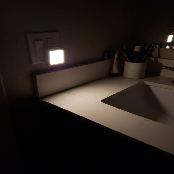 The nightlight in dark bathroom