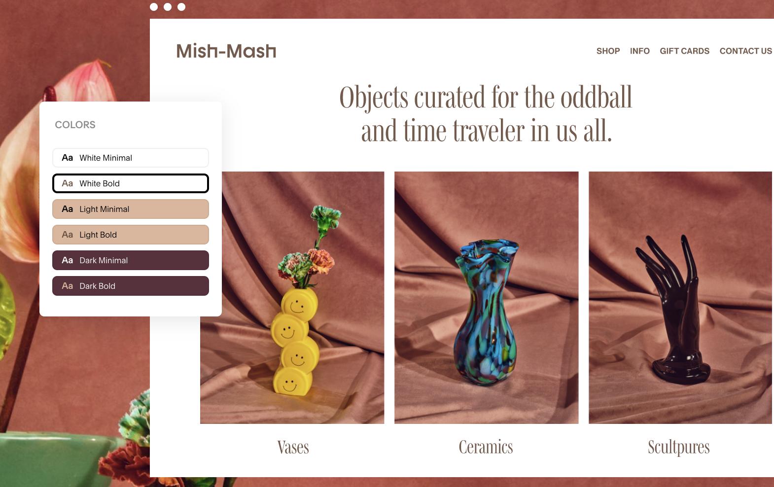 Screenshot of Squarespace website builder