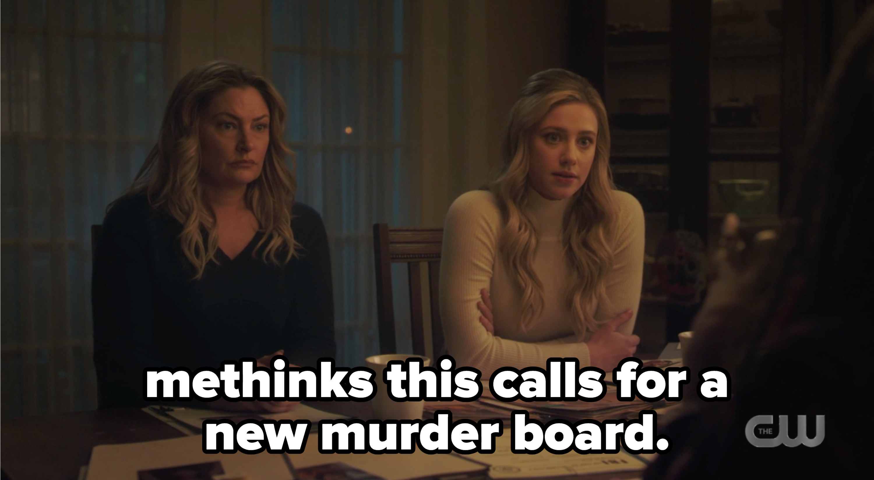 """Betty and Alice talking to Toni and Sheriff Keller with the caption """"methinks this calls for a new murder board"""""""
