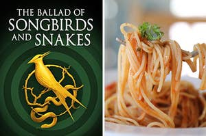 the ballad of songbirds and snakes on the left and a bowl of spaghetti on the right