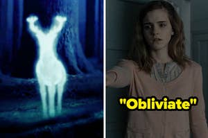 a patronus on the left and hermione doing the obliviate spell on the right