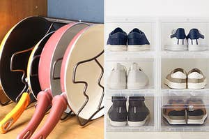 pans in an organizer / shoes in a container