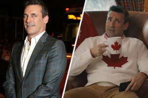 A photo of Jon Hamm on the left in a blue suit with a side eye glance. On the right Jon Hamm sitting on a couch in a white sweater holding a maple leaf mug.