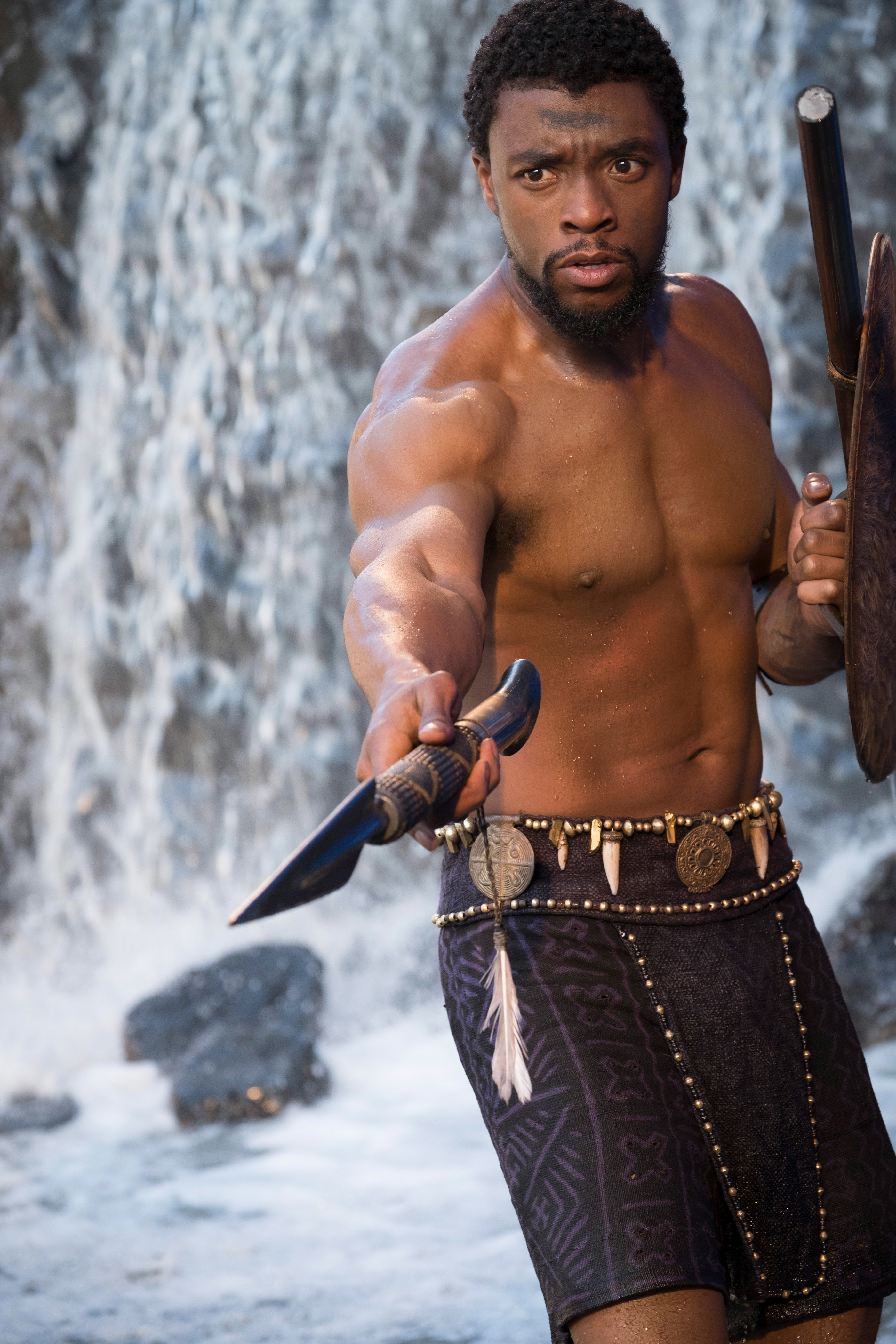 Boseman shirtless and holding a spear in Black Panther fight scene