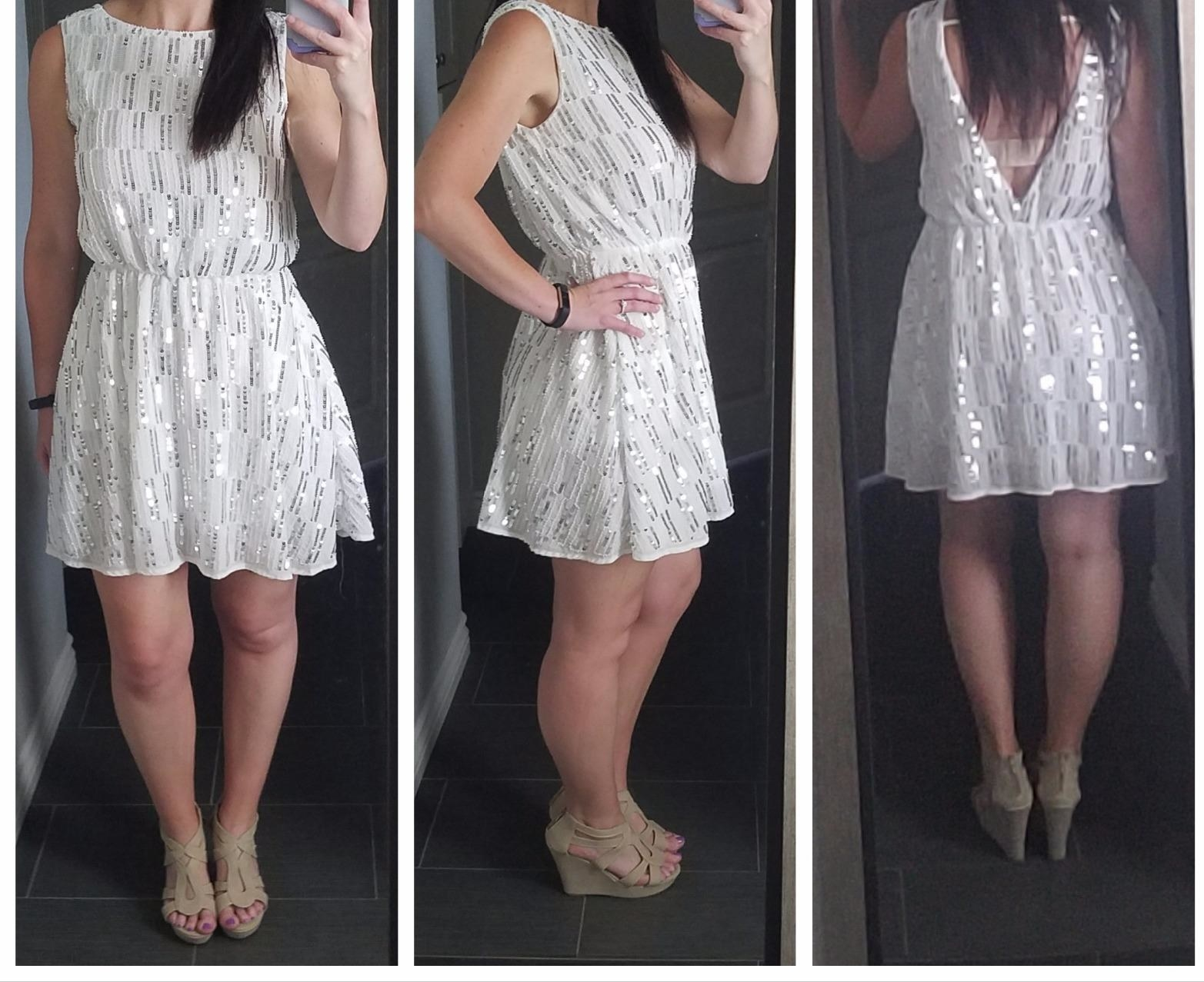 Reviewer in the white dress from the front, side, and back
