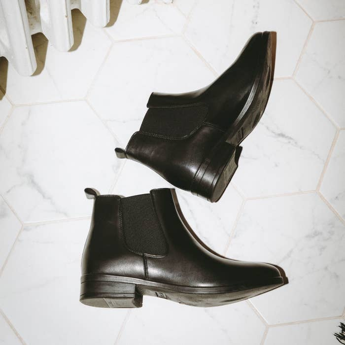 the boots on a marble floor