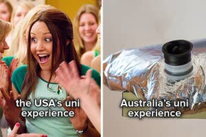 """A sorority girl cheering with the caption """"the USA's uni experience"""" and a goon bag with the caption """"Australia's uni experience"""""""