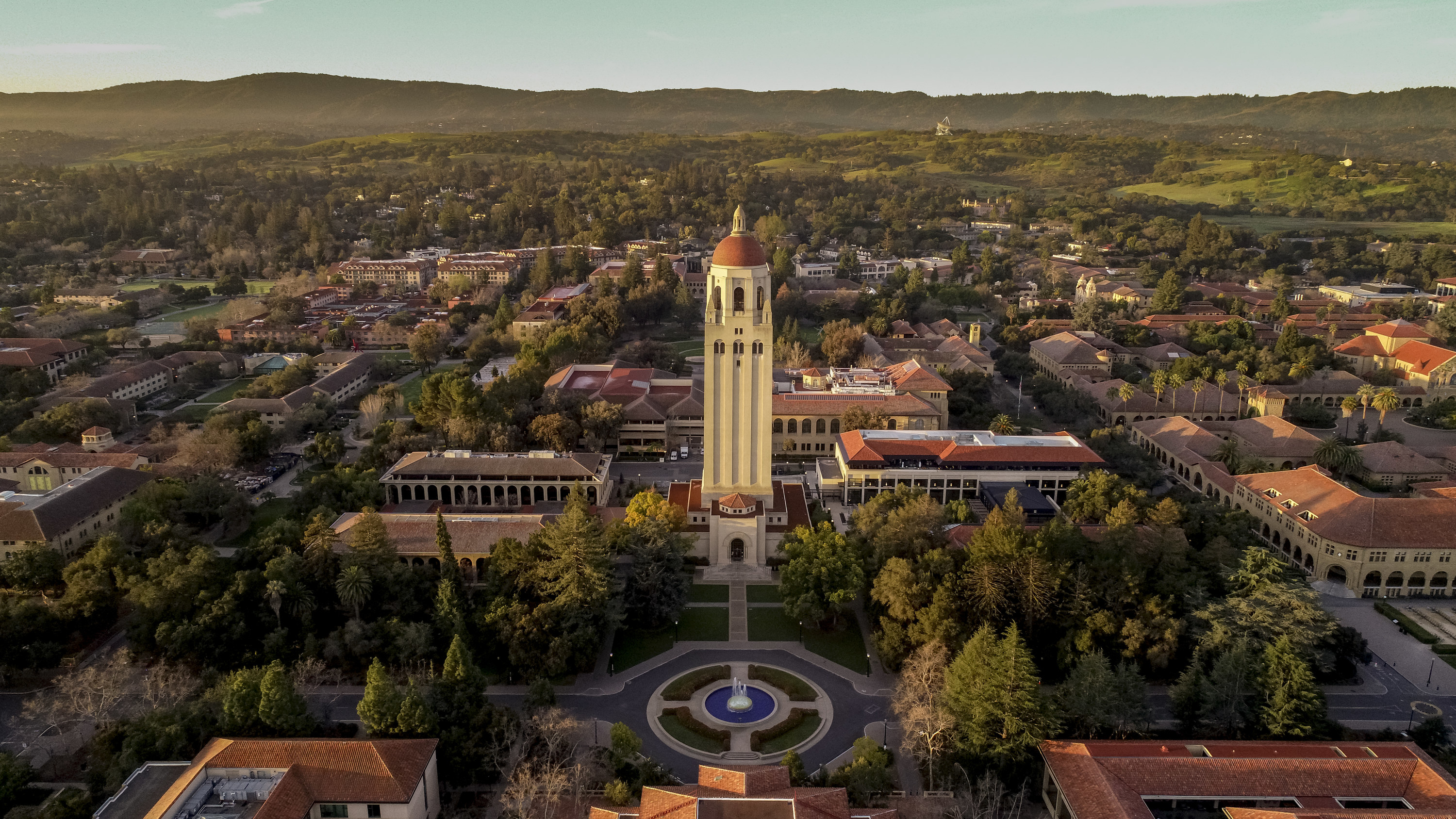 Aerial view of Stanford University college campus