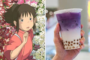 spirited away on the left and a cup of purple boba on the right