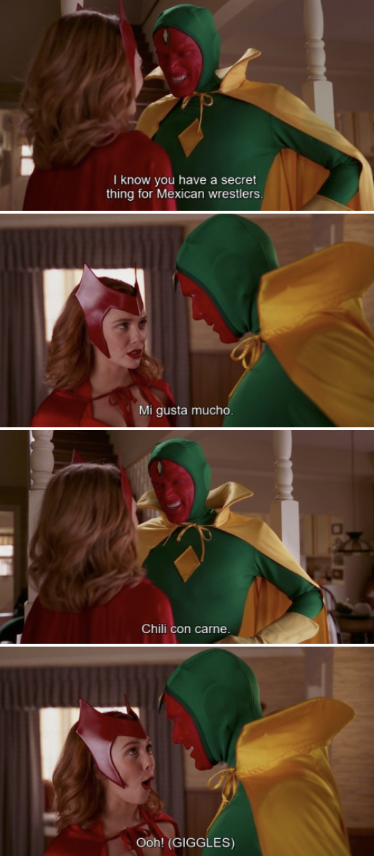 Wanda and Vision on Halloween, making corny jokes about Mexican wrestlers