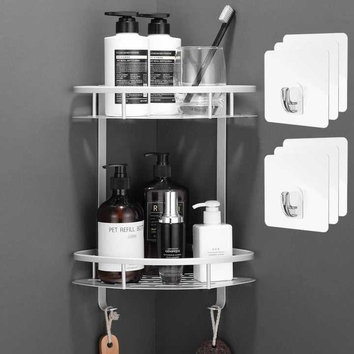 The shower caddy holding shower products