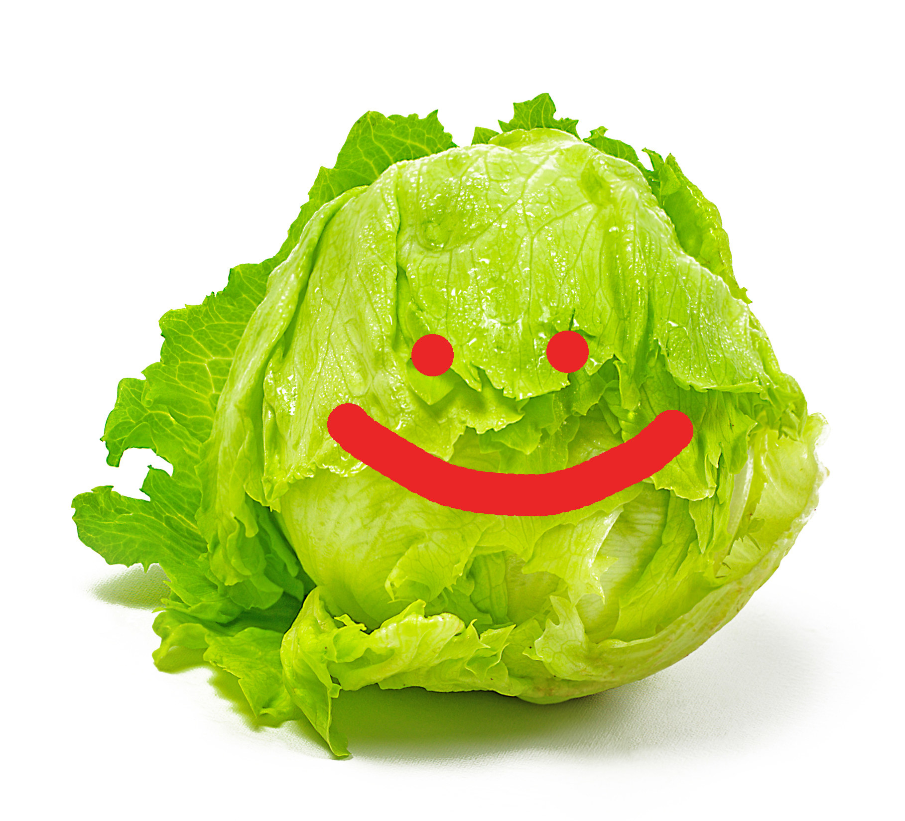 A head of lettuce with a cute smiley face drawn on