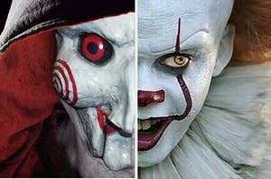 Jigsaw and Pennywise looking scary A F