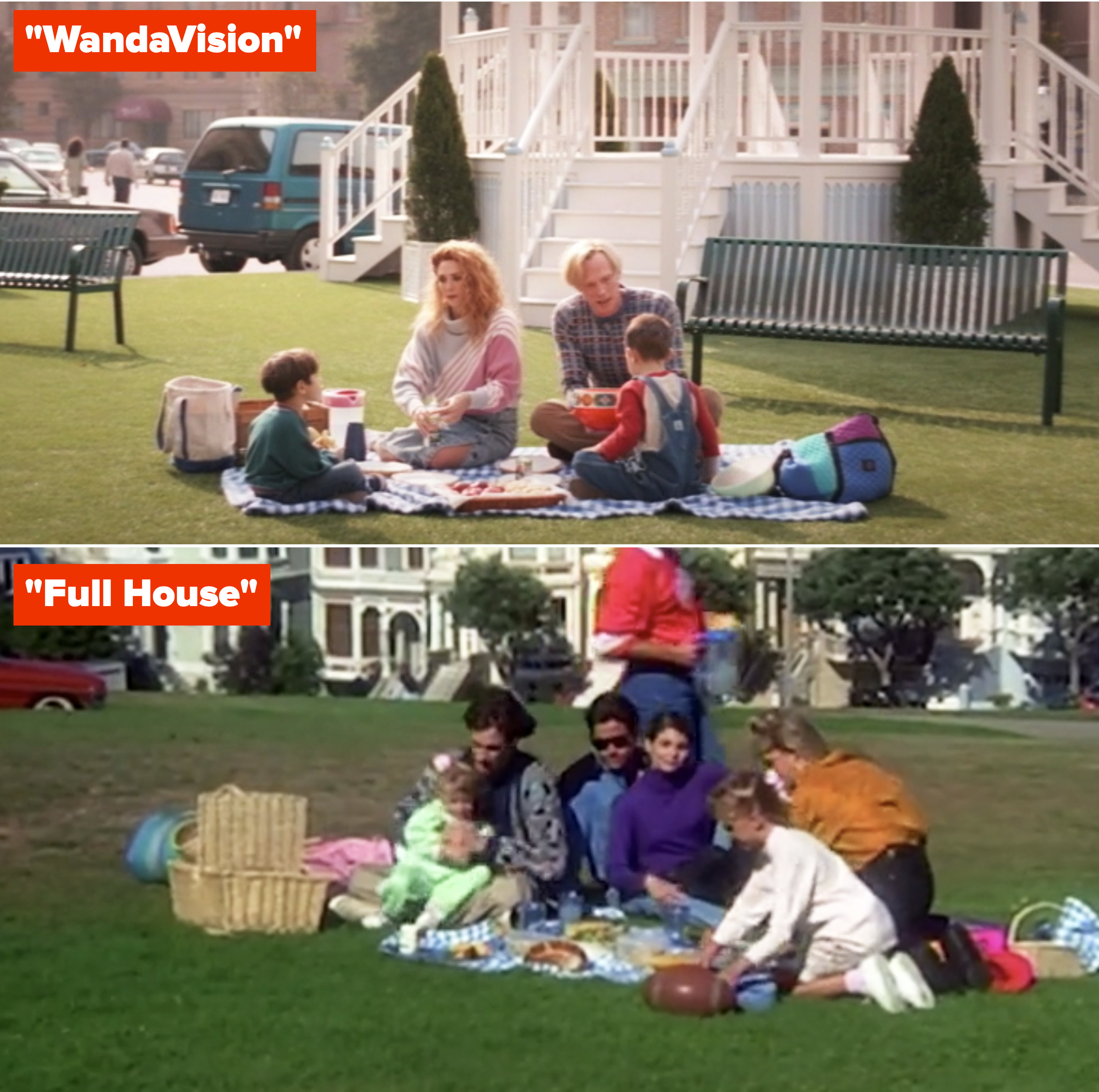 "Wanda, Vision, Billy, and Tommy having a picnic on the grass, referencing ""Full House;"" characters from ""Full House"" having a picnic in their opening theme song"