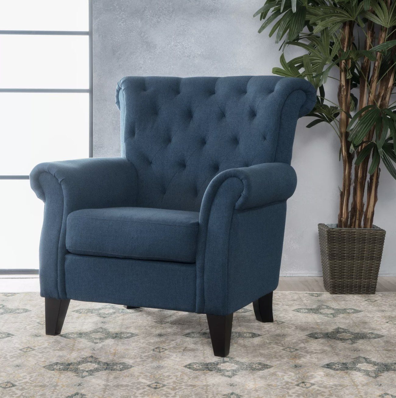 A navy blue chair