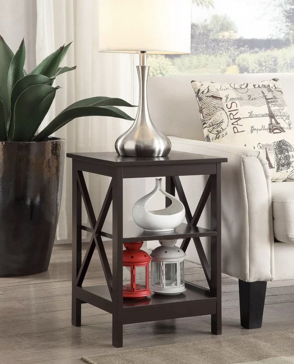 The end table in a dark espresso color