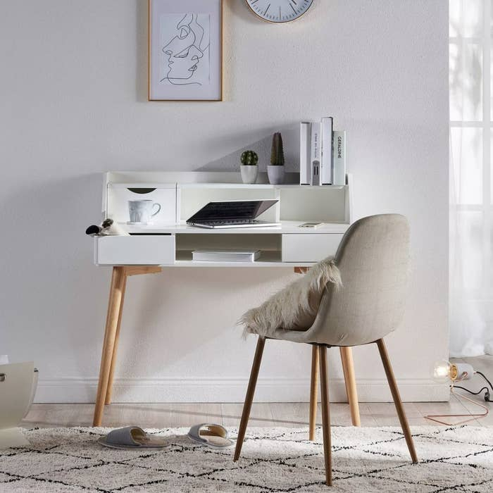 The white and wood desk