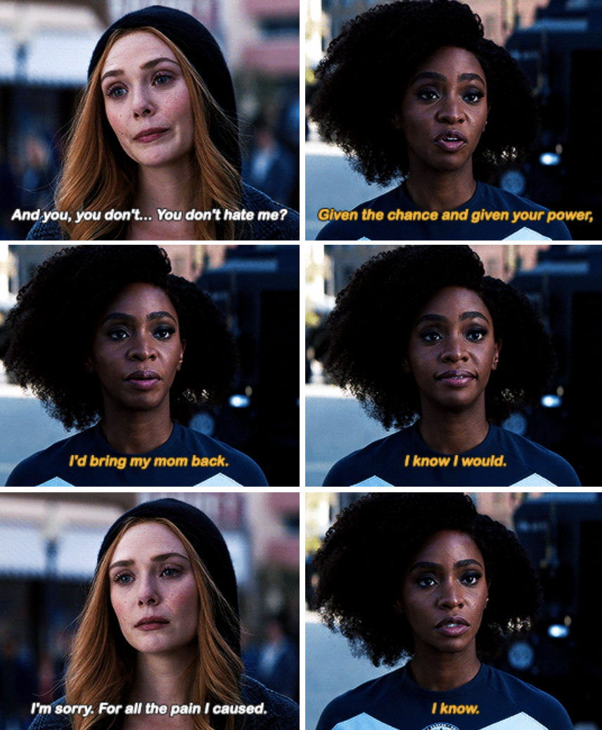Monica telling Wanda in Episode 9 if she had her powers, she would've brought her mother back