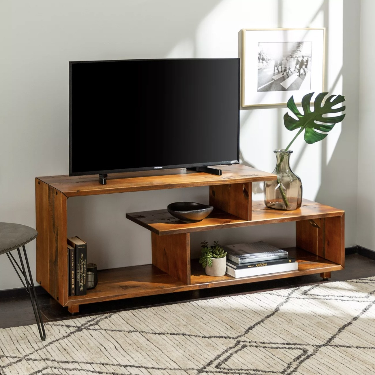 The wood TV stand