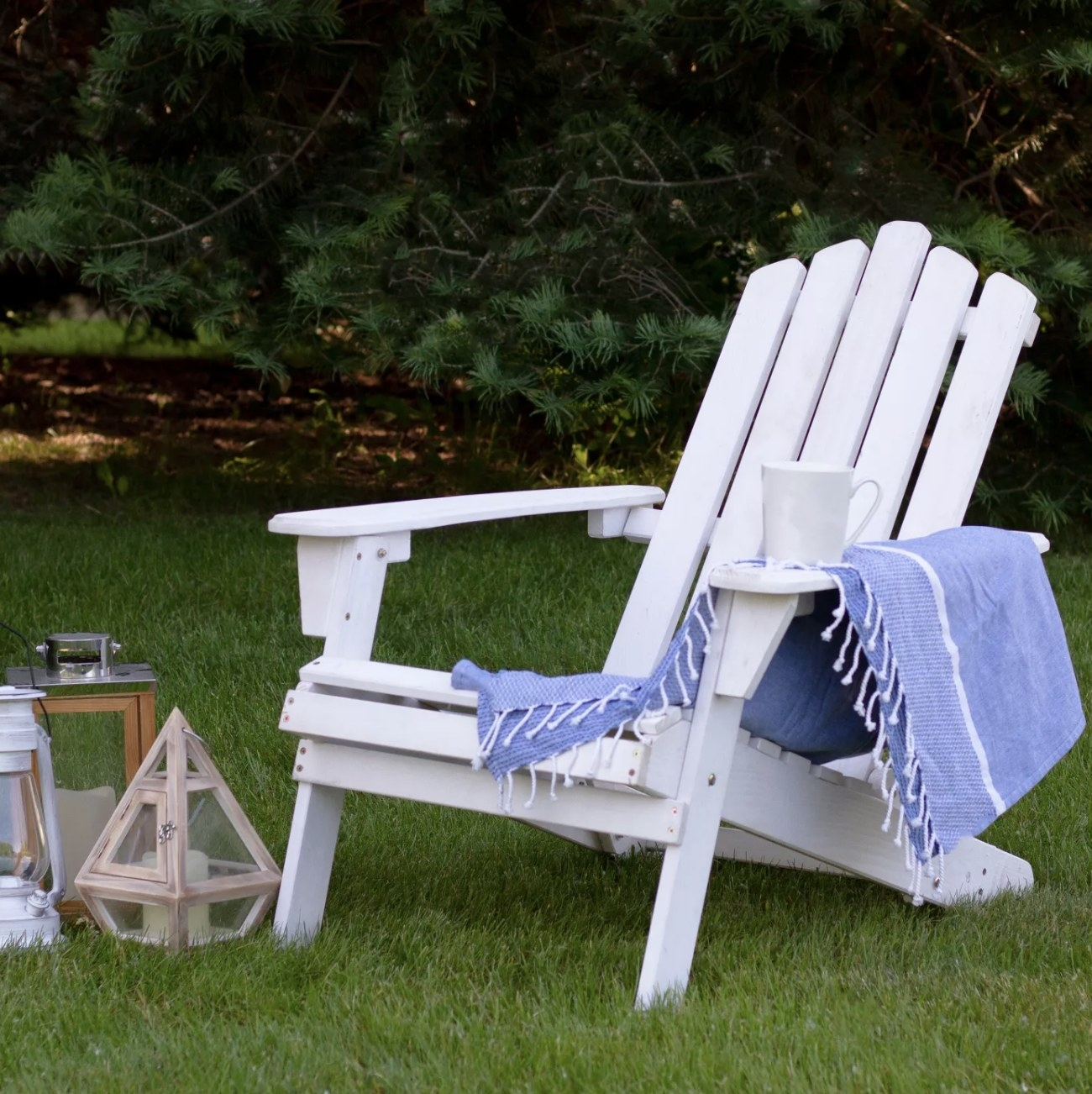 A white Adirondack chair