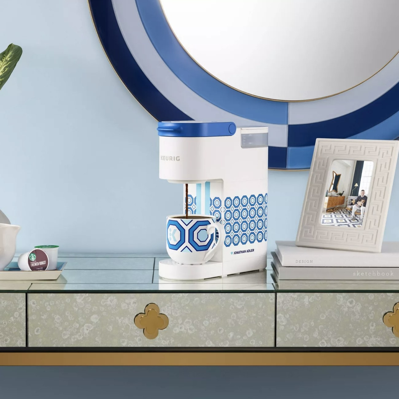 The white and blue patterned Keurig mini