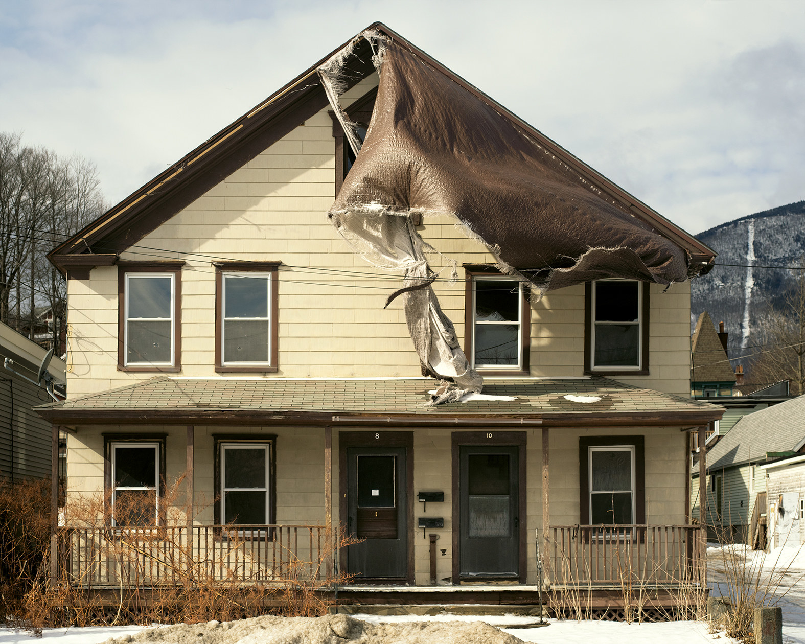 A half-burned house