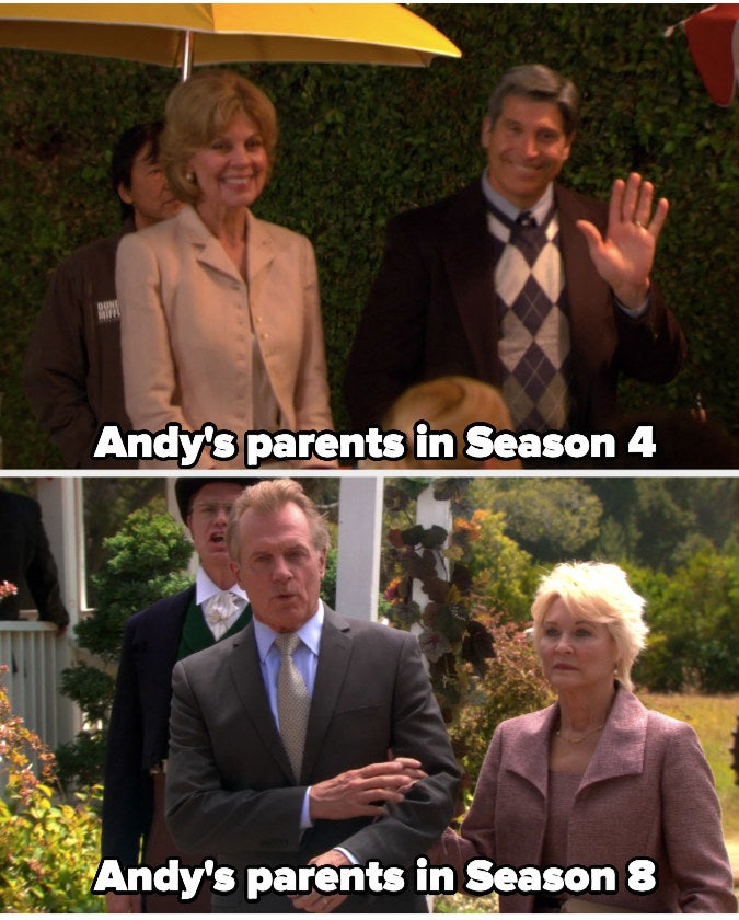 """Andy's parents from season 4 and season 8 in """"The Office"""""""